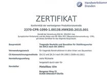 Zertifiziert nach EN1090-2/EXC2